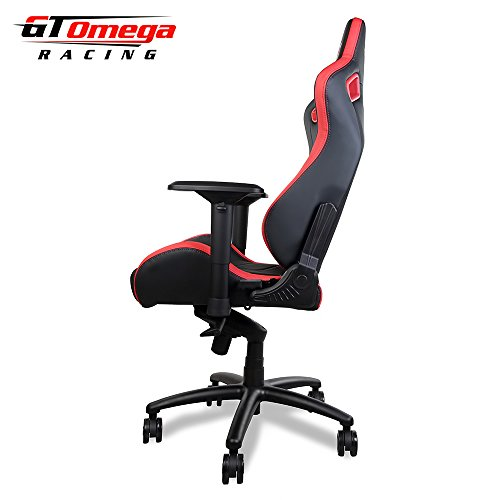 Gt Omega Sport Racing Office Chair Black And Red Leather