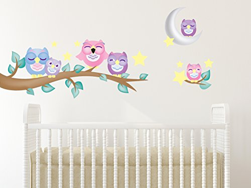 Sunny Decals 139P Owl Fabric Wall Decals with Branch (Set of 6) (Owl Fabric Pink)