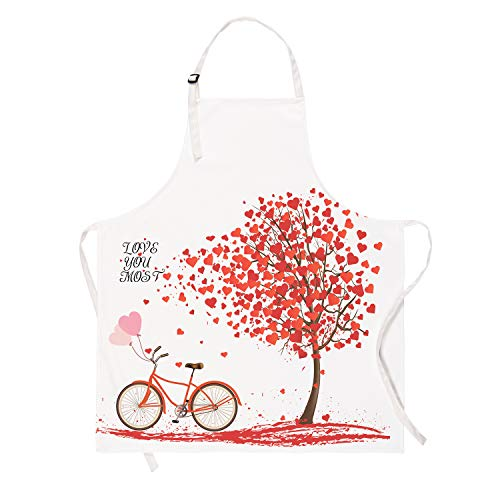 Sevenstars Romantic Love Hearts with Bike and Petals Kitchen Aprons, Waterproof Cooking Aprons, Adjustable Baking Aprons for Valentine's Day, Wedding, Couples