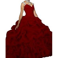Dydsz Quinceanera Dresses Prom Party Dress Women Juniors Beaded Ball Gown Cheap D18 Burgundy 8