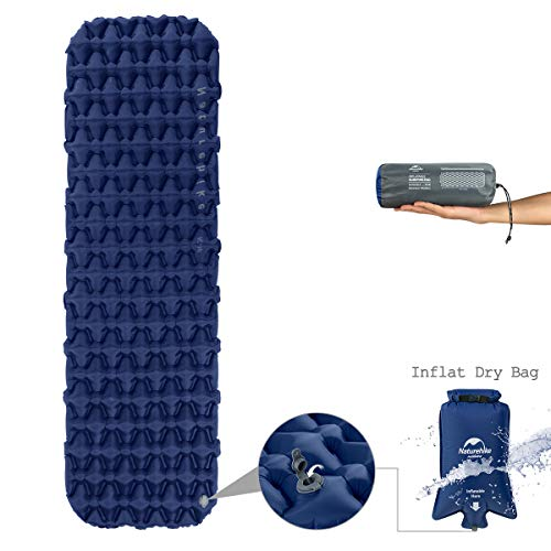 Naturehike Improved Fast Inflating Camping Sleeping Air Pad - with Inflate Dry Bag - Large Size Thick Air Mat with Carry Bag for Backpacking Outdoor Hiking ()
