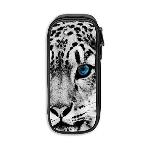 - Black and White Snow Leopard Cheetah Pencil Case Kid Stationery Pouch Bag Office Storage Organizer Coin Pouch Cosmetic Bag