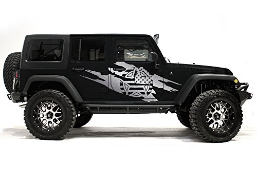 (Factory Crafts Army Star Torn Side Graphics Kit 3M Vinyl Decal Wrap Compatible with Jeep Wrangler 4 Door 2007-2016 - Silver)
