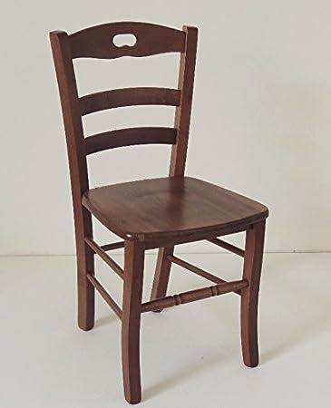 Sedia legno massello con seduta legno colore noce scuro per ...