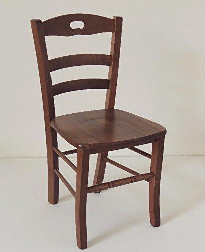 Woodshop Sedia legno massello con seduta legno colore noce scuro per ...