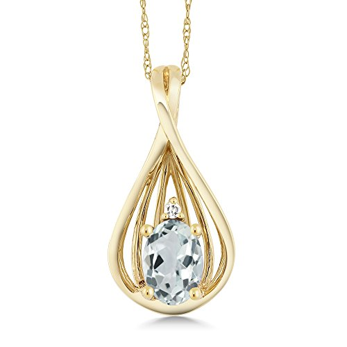 Gem Stone King 0.43 Ct Oval Sky Blue Aquamarine and Diamond 10K Yellow Gold Teardrop Pendant With Chain