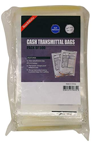 Bank Deposit Bags | Extra Strength Tamper-Evident, Tamper Proof – Self Adhesive Seal Clear Plastic Poly Transmittal Bags for Cash Checks Money or Currency Deposits | Pack of 500