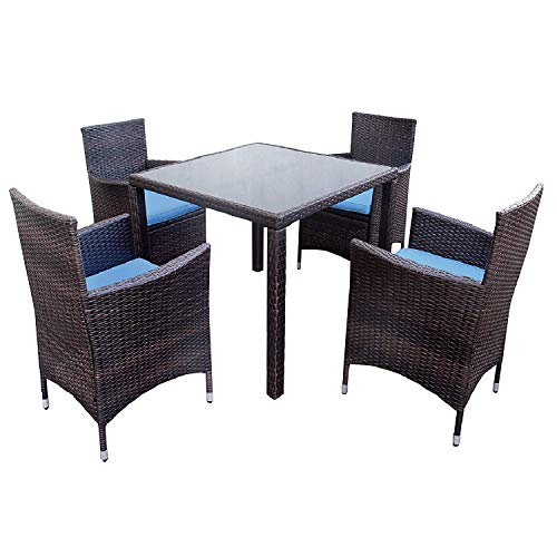 LZ LEISURE ZONE Outdoor 5 Pieces Patio Dining Set Garden PE Rattan Dining Furniture Sets with 4 Wicker Chairs and Glass Table