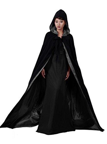 ANGELWARDROBE Halloween Hood Cloak Wedding Cape Black-Black-4XL ()