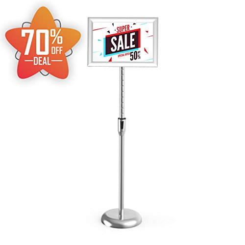 Pedestal Sign Holders (Smonet Adjustable Pedestal Sign Holder Floor Stand with Telescoping Post, Poster Frame for 8 X 11 Inches Graphics, Top-loading Vertical Design-Silver Metal)