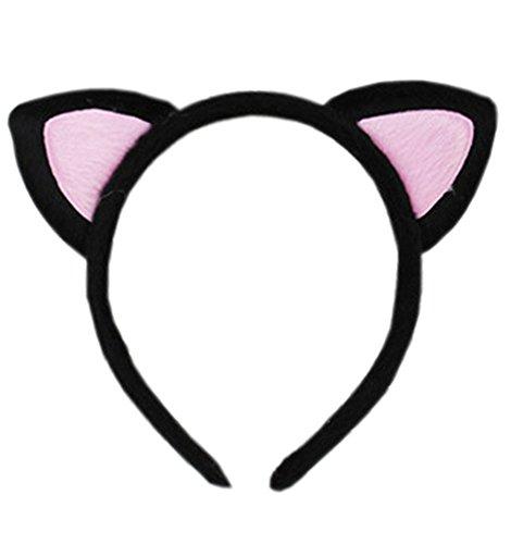 [Women Lolita Style Cute Cat Ears Hairband Black&pink (black&pink)] (Sexy Hello Kitty Costumes)