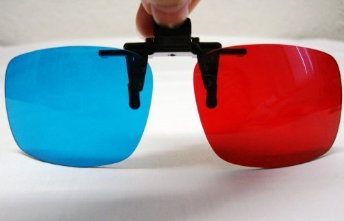 Red-blue / Cyan Anaglyph 3D Clip-on Glasses 3D movie game