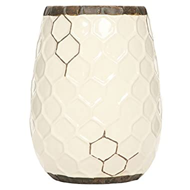 Hosley Ceramic Honeycomb Vase - 7.5  High. Ideal Gift for Weddings, Spa, Flower Arrangements O6