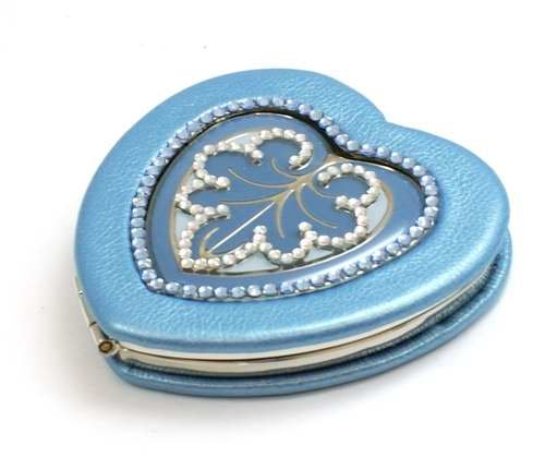 Jimmy Crystal Blue Heart Shaped Compact Mirror Decoration made with Swarovski Crystals and Presentation Pouch (Compact Mirror Heart Crystal)