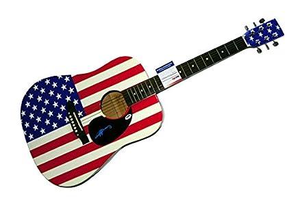 AC/DC Angus Young autografiado, bandera de EE. UU. Guitarra Acústica ...