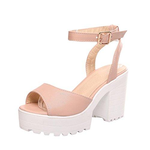 Carolbar Dames Gesp Enkelbandje Sweet Peep Toe Mode Plateau Chunky Hoge Hak Jurk Sandalen Roze