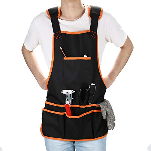 OCGIG Professional Canvas Work Apron with 16 Tool Pockets Tool Apron Adjustable Size Protective and Waterproof