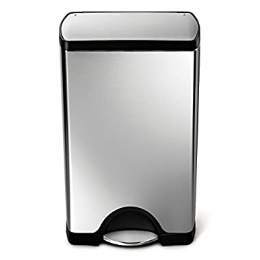 simplehuman Rectangular Step Trash Can, Stainless Steel, 38 L / 10 Gal