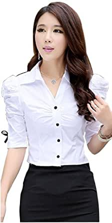 Dpo women 39 s fitted button down pleated blouse v neck short for Womens button down shirts fitted
