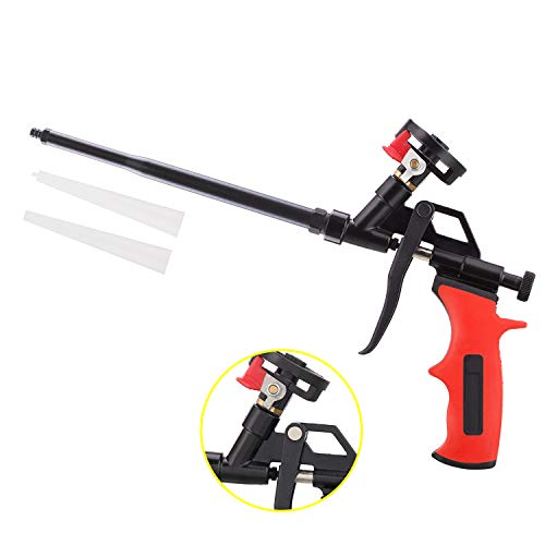 Needn't Clean Foam Gun, Pu Expanding Foaming Gun, Upgrade Caulking Gun, Heavy Duty Spray Foam Gun, Mental Body Covered with PTFE, Suitable for Caulking, Filling, Sealing, Home and Office Use (Great Stuff Pro 14 Foam Dispensing Gun)