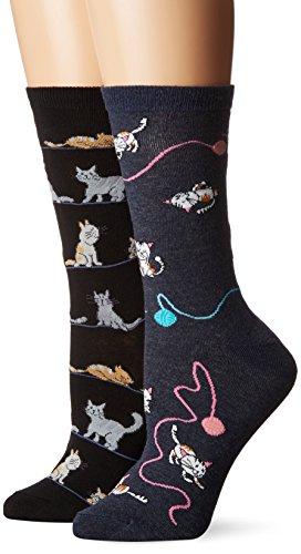 K. Bell Women's 2 Pack Novelty Crew Socks, Cats Black/Denim, 9-11