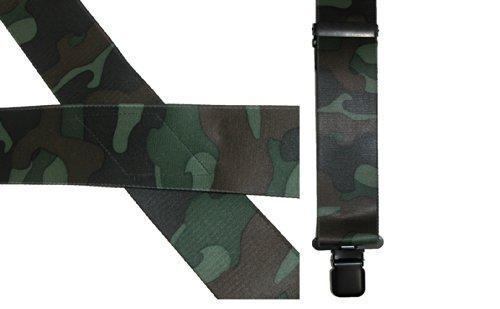 CTM 2 Inch Camo Pattern Suspenders, Green