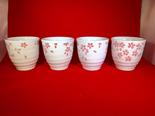 4 piece of Japanese Tea Cup with Sakura (Cherry Blossoms) Made in (Japan Cherry Blossom)