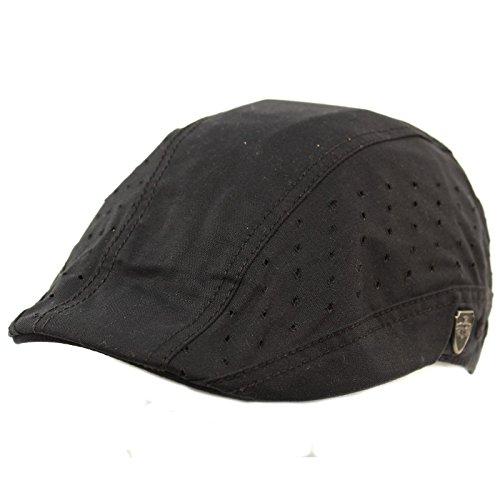 SK Hat shop Summer Vented Cotton duckbill Flat IVY Driver Cabbie Sun Biker Cap Hat S/M (Cabbie Driver)