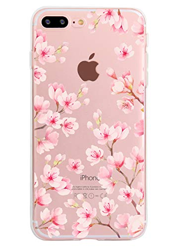 Cherry Blossom Case for iPhone 7 Plus iPhone 8 Plus Non-Skid Watercolor Clear Soft TPU Slim Flexible Shockproof iPhone Case for Women - Blossom Cherry Phone