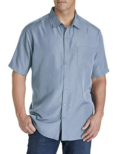 Harbor Bay by DXL Big and Tall Microfiber Comfort Grid Sport Shirt, Country Blue, 4XL ()