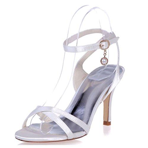 Toe Heel Strap 35 da Size Donna Summer Buckle per Satin Platform Scarpe 42 Stiletto T Elobaby White Sposa per 36 5cm 8 50Y6Hwxqn