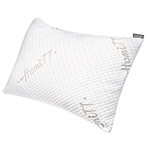 Homitt Shredded Memory Foam Pillow, Breathable Bamboo Pillow for Sleeping. Adjustable Bed pillow for Back and Side Sleeper, Hypoallergenic Dust Mite Resistant Removeable Washable Cover (Queen Size)