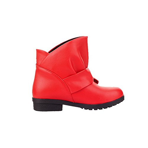 AgooLar Women's Pull On Low-Heels PU Solid Round-Toe Boots Red LZ4h1jirP