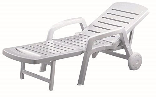 Resol Palamos Folding Sun Lounger - White Plastic