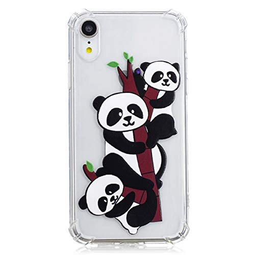 (iPhone XR Case (6.1-inch), MerKuyom Soft TPU [Clear Transparent] Lightweight Slim-fit [Flexible Gel] Crystal Silicone Skin Case Cover + Stylus for Apple iPhone XR (Cute Pandas Style))