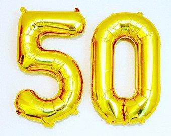 Party Propz Golden 50 Number Foil Balloon 16 For 50Th Anniversaries