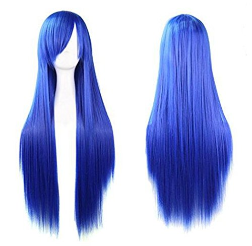 Rbenxia 32'' Women's Cosplay Wig Hair Wig Long Straight Costume Party Full Wigs Royal Blue
