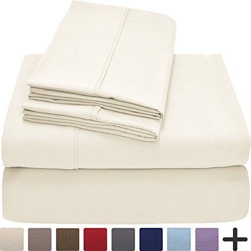 Premium 1800 Ultra-Soft Microfiber Collection Sheet Set - Double Brushed - Hypoallergenic - Wrinkle Resistant - Deep Pocket (King, Ivory) (Sheet Flat Ivory)