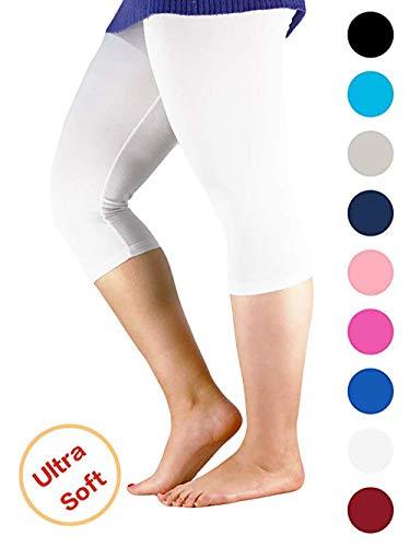 (Century Star Women's Plus Size Elastic Waist Cotton Basic Capri Leggings White US 4X Plus(Tag 7XL))