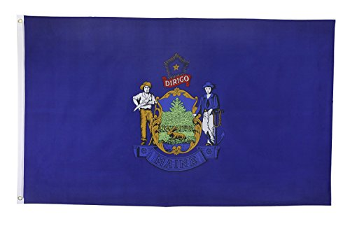Shop72 US Maine State Flags - Maine Flag - 3x5' Flag From Sturdy 100D Polyester - Canvas Header Brass Grommets Double Stitched From Wind Side