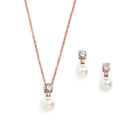 Mariell Rose Gold CZ & Ivory Pearl Wedding Necklace and Earrings Jewelry Set for Bridesmaids & Brides -