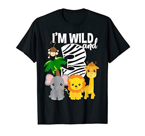 I'm Wild and 3 Zoo Theme Birthday Shirt Safari Jungle -