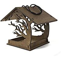 Bird Feeder 11.8x9.3x7.9 inches - Hanging Bird Feeder - Love Birds - Birds House - Birdhouses - Wooden Bird Feeder - Garden Decor - Patio Decor - Garden Gift