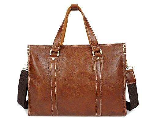 MUMUWU Men's Messenger Bag First Layer Leather Business Handbag Casual Leather Men's Briefcase (Color : Brass, Size : M) from MUMUWU