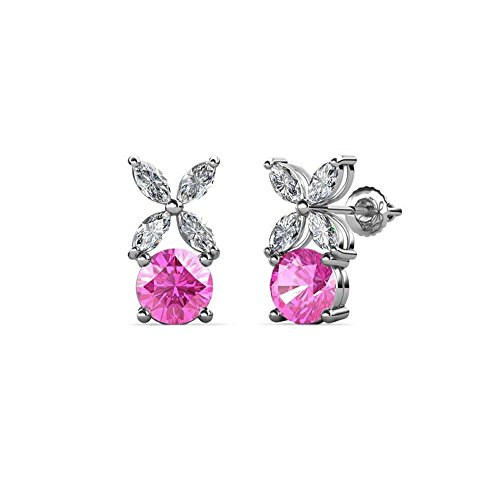 Floral Pink Sapphire Earrings - Round Cut Created Pink Sapphire & White Sapphire Floral Stud Earrings .925 Sterling Silver
