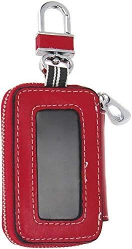 ユニバーサル車のキーケース車車スマートキーケースリモートフォブケースホルダーキーホルダーリングケースバッグ (Color : Red)