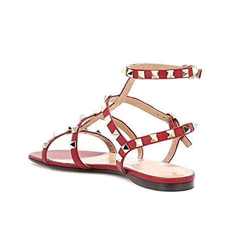 Slides Red studs Gold Studded Dress Pan Sandals Rivets Flats Mules Slippers Strappy Womens Rockstud Caitlin Backless XO4Uqw