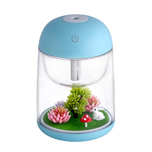 - Saying Bonsai Plant Decoration with Humidifier, Landscape Lamp Essential Oil Diffuser Night Light Decoration for Decor Desktop Windowsill Bookshelf, on Easter and Birthday (Blue)