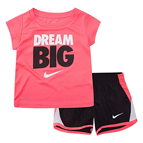 Nike Kids Girls Sets - NIKE Children's Apparel Baby Girls Graphic T-Shirt and Shorts 2-Piece Outfit Set, Black/Racer Pink, 24M