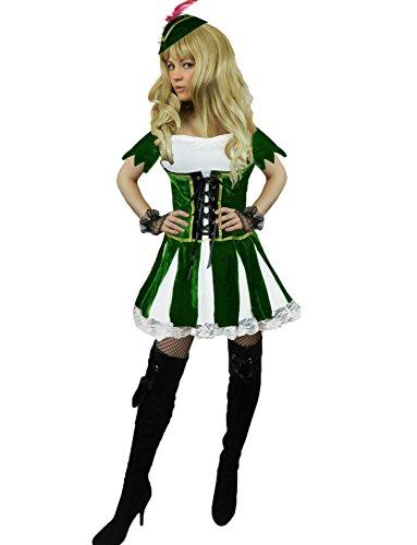 Yummy Bee Womens Robin Hood Costume Medieval Green Velvet Size 10-12 -